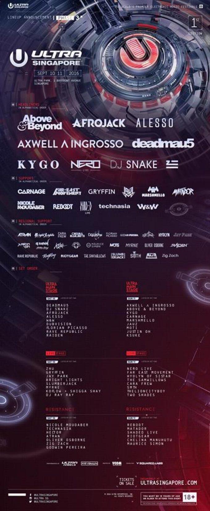 Ultra Singapore объявил окончательный лайн-ап фестиваля